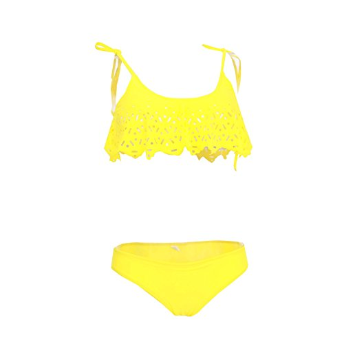 Sexy Ruffle Bandeau Cape Crop Top Bikini Petite Girl Junior Swimwear-KJ6901-YL1