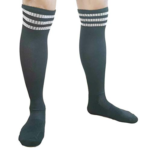 Athletic Over the Calf Compression Crew Socks for Mens and Boys - Black/Red/White (Black Stripe L)