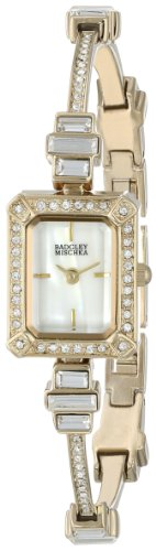 Badgley Mischka Women's BA/1312WMGB Swarovski Crystal-Accented Rectangular Gold-Tone Thin Bracelet Watch
