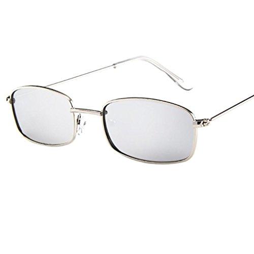 Hombre Rectangular sol Chic Gafas Vintage cuadrados de Adeshop plata Tonos Sol Caja Mujer de Blanco Mercurio wafwqnYFCx
