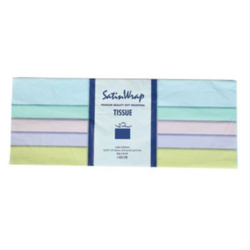 Party Supplies - Pastel Tissue Paper - Colors include pink, blue, lavender, yellow, and seafoam green - 25-Sheet Packs