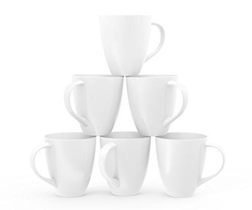 Francois et Mimi Large Ceramic Coffee Mugs, 16-Ounce, White, Set of 6