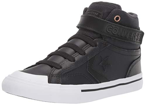 Converse Boys' Pro Blaze Strap Martian Sneaker, Almost Black/Mason, 1 M US Little Kid (Black Blaze)