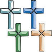 Stained Glass Supplies Assorted Cross of Distinction Glass Bevel Clusters