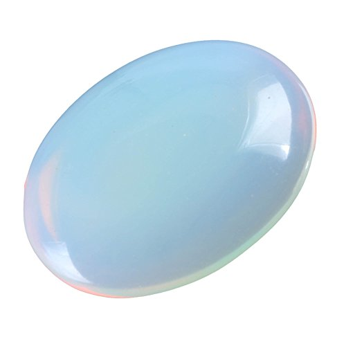 Oval Gemstone - 8pcs Top Quality Created White Opal Oval Cabochon Flatback Gemstone Cabochons 25x18mm #GP1-W