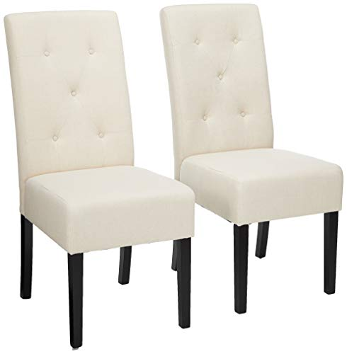 Christopher Knight Home Alexander Natural Fabric Dining Chair (Set of 2), 39.50 inches high x 17.50 inches wide x 25.5 inches deep, Plain (Dining Chairs High Back Red)