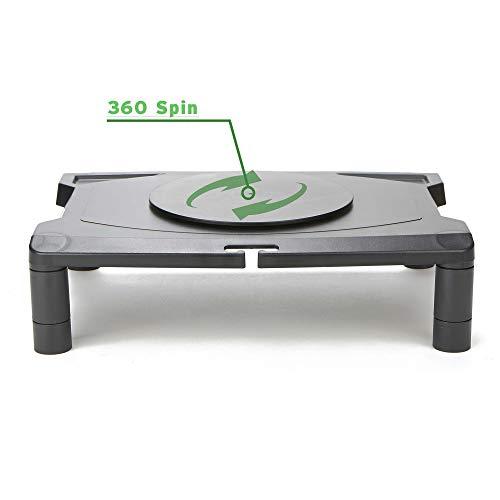 Mind Reader MONSWIV-BLK Rotative Wide Adjustable Risers, Extra Storage, Stand, Desk Organizer, Spinning Monitor, Black, 4 Leg Rotate