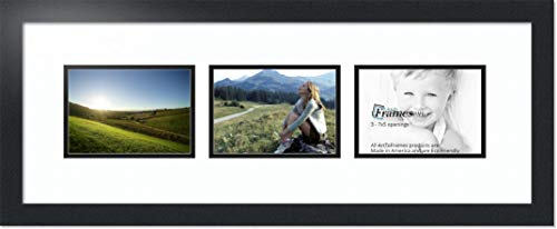 (ArtToFrames Double-Multimat-57-61/89-FRBW26079 Collage Photo Frame Double Mat with 3-5x7 Openings and Satin Black Frame, Super White, 3-5x7)