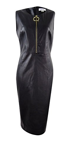 Zip Front Leather Dress - 9