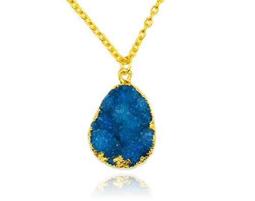 Pendant Brass Turquoise - Taula Jewellery Druzy Quartz Pendant on 18K Gold Plated Brass Necklace (Turquoise Blue)