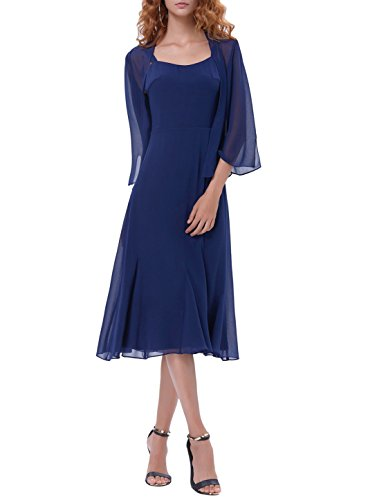 Mother Of The Bride Dress Set With 3/4 Sleeve Chiffon Jacket Navy Blue KK1059-US14