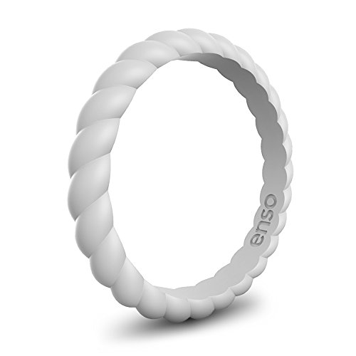 Enso Womens Braided Silicone Ring Misty Grey Size: 7