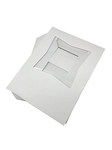 BAKERY BOXES - Pack of 15 - 8'' Length x 8'' Width x 2 1/2'' Height White Kraft Paperboard Auto-Popup Window CAKE / PIE BOX
