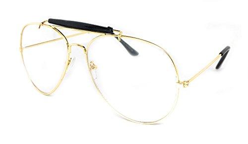 WebDeals - Clear Lens Aviator Eyeglasses Classic Retro Metal Frame… (Gold Frame, Black Top - Bar Glasses Black