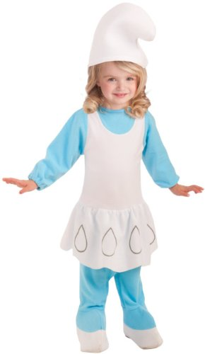 Smurfette Halloween Costume Toddler (Rubie's Costume The Smurfs 2, Deluxe Smurfette Romper and Headpiece, Blue/White, Toddler)