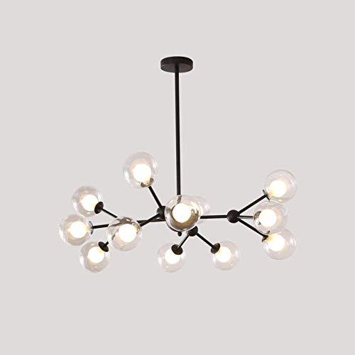 Lampara colgante Sputnik de 12 cabezas, lampara de cristal, frijol magico, lampara colgante molecular, lampara colgante nordica para sala de estar, dormitorio, comedor, negro + blancoLight-12Heads