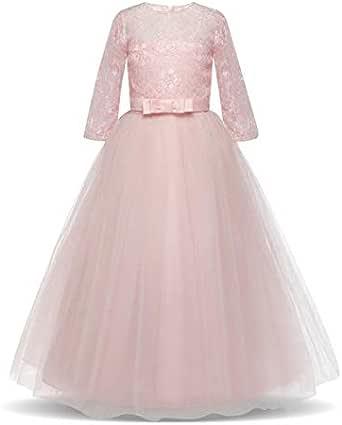 Girl lace dress Long Tulle Teen Girl Party Dress Elegant Children Clothing Kids Dresses for Girls Princess wedding dress 130cm