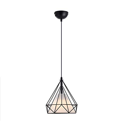 HOGOL Vintage Pendant Lighting Retro Style Chandelier Geometric Pendant Light Metal Diamond Hanging Ceiling Light Adjustable Wire for Loft Kitchen Dining Room Hallway