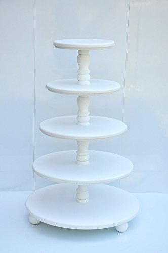 Demountable 5-tier white wood cake stand for wedding Wood cupcake holder Wooden cupcake stands Wooden cake stand Baby shower decor Wedding centerpiece White cake holder for weddings by DKUA