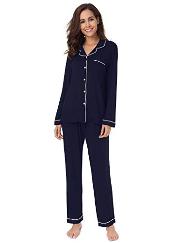 SIORO Pajamas for Women Plus Size Long Sleeve Sleepwear Ladies Autumn Loungewear Soft Cotton Pajama Set, Navy with White Piping, XL
