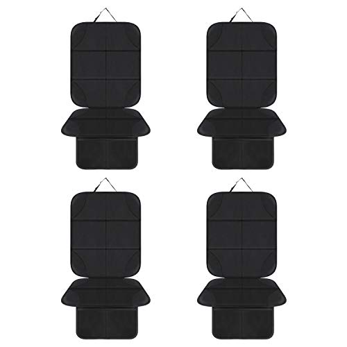 AOAFUN 4 Pack Car Seat Protector,Protects Car Upholstery from Child Seats, Offers Thick Protection for Child & Baby Cars Seats,Non-Slip Backing - Mesh Pockets - Easy Cleaning. (Black):
