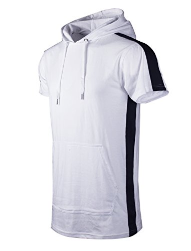 (SCREENSHOTBRAND-S11850 Mens Hip Hop Longline Premium Tee - Pullover Short Sleeve Fashion Hooded Shirt Side Stripe Basic-White-Large)