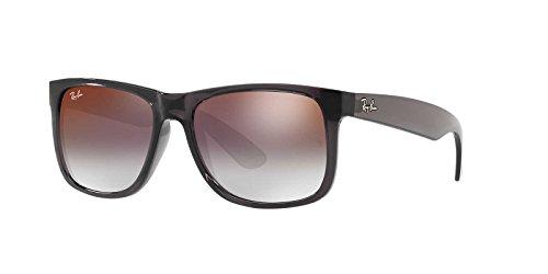 Ray-Ban Men's Nylon Man Non-Polarized Iridium Rectangular Sunglasses, Trasparent Grey, 53 - Glasses Sun Hut