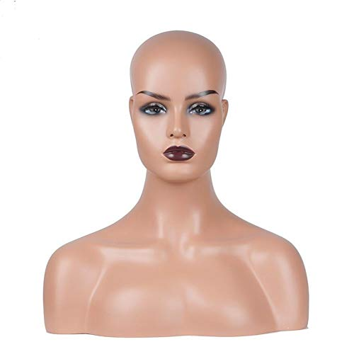 Mannequin New Female Realistic Mannequin Head Fiberglass Jewelry and Hat Display Glasses Mold Stand Torson Wig NO.26 (Color : Skin Tone, Size : 16.5 Inch)