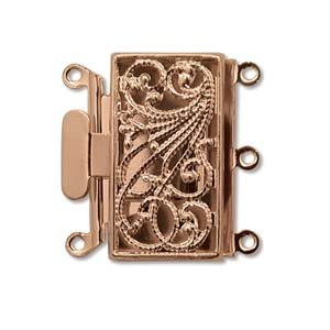 Three Strand Rose Gold Tone Filigree Push Pull Box Clasp - Multi-Strand Clasp - 12 (Filigree Clasp Bracelet)