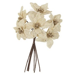 The Country House Collection Cream Burlap Poinsettia Bunch (10'')