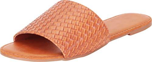 Cambridge Select Women's Open Toe Woven Single Band Slip-On Flat Slide Sandal,8.5 B(M) US,Tan -