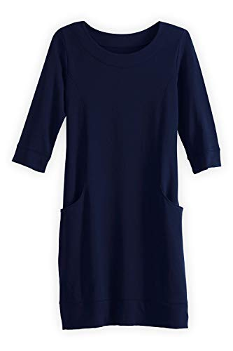 Fashion Fair Trade (Fair Indigo Fair Trade Organic Princess Seam Pocket Dress (XS, Midnight Navy))