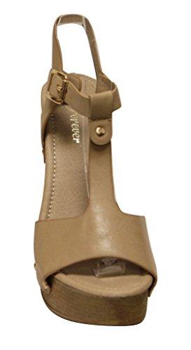Voor Altijd Eileen-45 Dames Stevige Metalen Punt T-band Slingback Woody Platform Sandalen Taupe