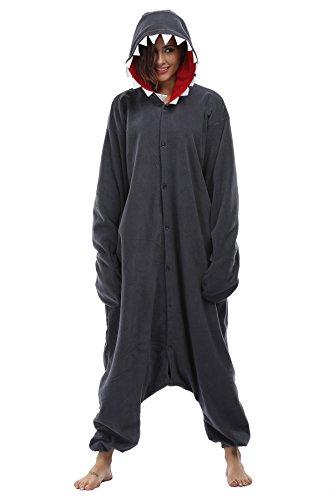 [FS Unisex Adult Onesie Pajamas Shark Animal Costume Sleepwear Cosplay] (Plus Size Shark Costumes)