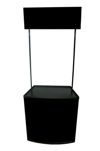 Displayfactory USA Promotional Table Trade Show Counter Black with Header and Carrying Bag