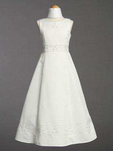 White Sleeveless Communion Baptism Dress with Shawl - Size 8 by Lito