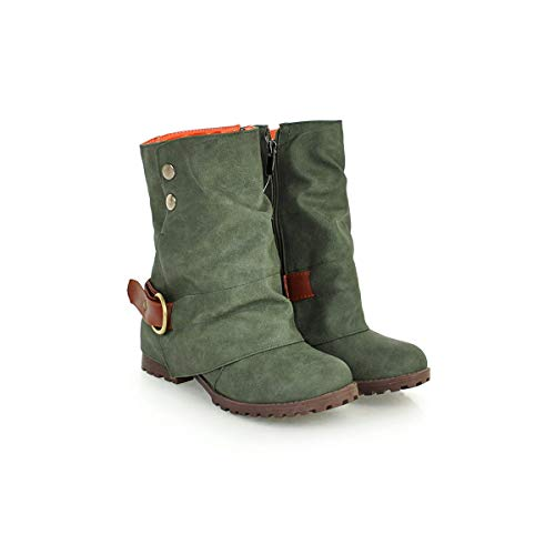Block Low Round Calf Grey JIEEME Women Fashion Zip Boots Ladies Black Heels Green Heels Mid Toe CUqpfw
