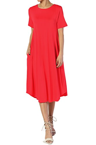 TheMogan Women's Short Sleeve Pocket A-Line Fit and Flare Midi Dress Red 2XL