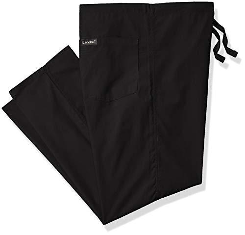 Landau Unisex Reversible Drawstring Scrub Pants, Black, Small Petite
