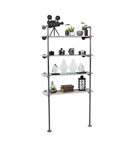 Pipe Decor 4 Tier Industrial Shelves, Vintage Iron DIY Shelving Unit, Rustic Floor or Wall Mounted Hanging Bookshelf, Perfect for Garage or Kitchen Storage, Heavy Duty Black Metal Rack Four Shelf Kit (Storage Mounted Wall Unit)
