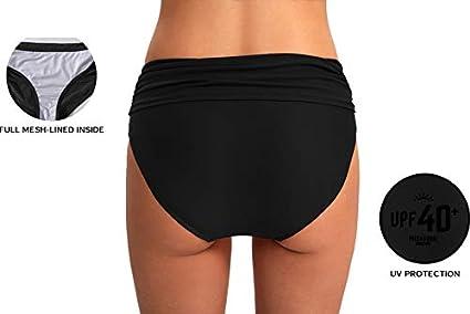 Luodemiss Womens Bikini Bottom Front Crossover Retro Bikini Bottom Tankini Briefs Swimsuit Panty Bottoms