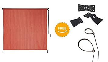 Coolaroo* Outdoor Cordless Roller Shade 6ft by 6ft Terracotta with Free 20 pcs. Butterfly Clips 20 pcs. Black Tie Wraps Bundle