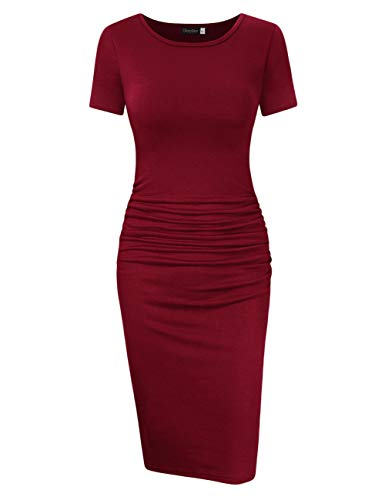 GloryStar Women's Sleeveless Short Sleeve Ruched Midi Bodycon Sheath Pencil T Shirt Dress (M, Short Sleeve ()