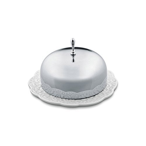 Alessi Dressed Butter Dish in Porcelain With Lid in 18/10 Stainless Steel Mirror Polished, White by Alessi