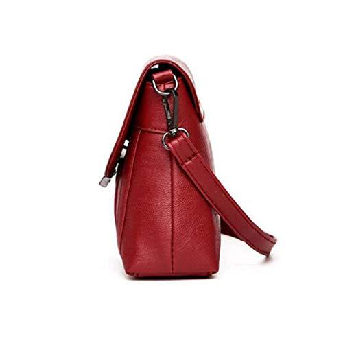 Piezas 27x6x17cm Wine Pink de Bandolera Bolsos Red Cuero Set 2 Mujer de de 4wSS1qIR