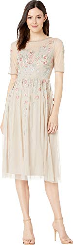 Adrianna Papell Women's Floral Beading Tea-Length Cocktail Dress Biscotti 6 ()