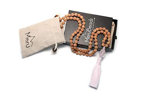 Price comparison product image Premium Mala Necklace - Rose Quartz & Rudraksha Mala Beads - Made in Bali Necklace - Pink Quartz Mala Necklace