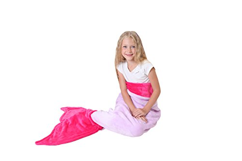 [Cuddly Blankets Polar Fleece Fabric Mermaid Tail Blanket for Kids (Ages 3-12), Purple and Hot Pink] (Costumes Ideas For 4)