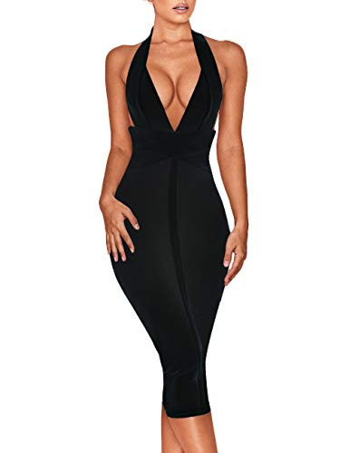 Whoinshop Women's Backless Halter V Plunge Celebrity Night Club Party Bandage Bodycon Midi Dress Black XS