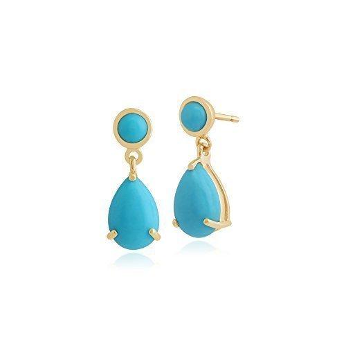 Gemondo Bague turquoise Boucles d'oreilles, or jaune 9carats 2,44carats-Boucles d'Oreilles Pendantes Femme-Turquoise